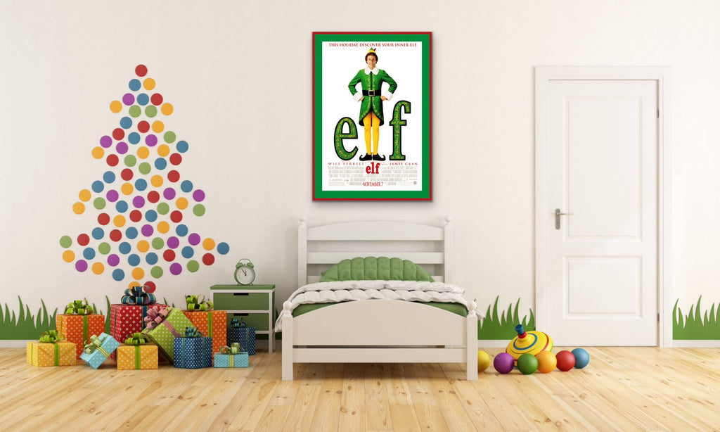 A photo of a Movie Poster for the film Elf in a child's bedroom