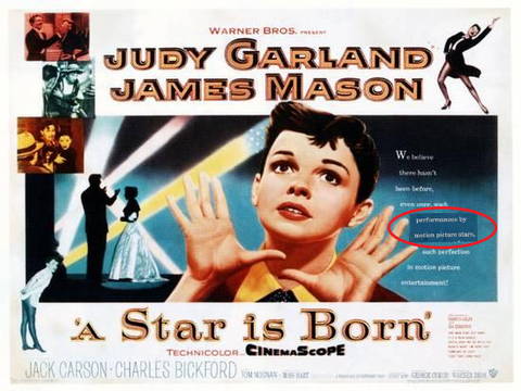 An original movie poster for the film A Star Is Born with an added snipe