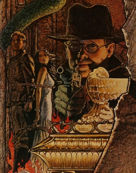A close up from Richard Amsel's 1982 movie poster for Raiders of the Lost Ark