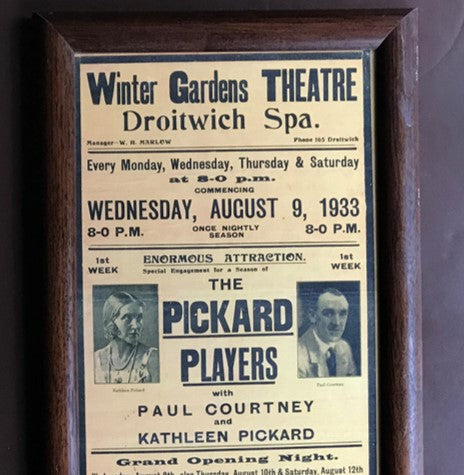 A theatre poster from 1933 showing signs of yellowing due to acid damage