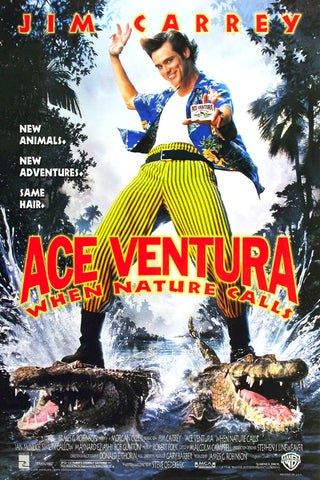 An original movie poster for the film Ace Ventura When Nature Calls by John Alvin