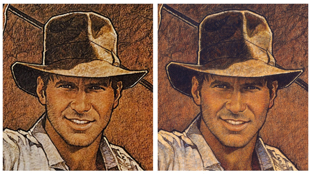 Adam McDaniel's comparison of the original Richard Amsel artwork for Raiders of the Lost Ark with the movie poster.
