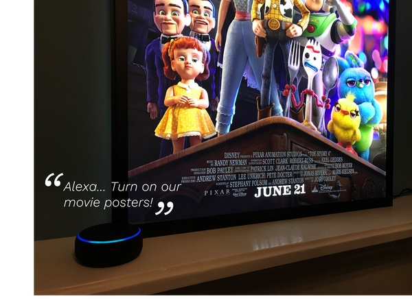Alexa and Google Home Integration with an Art of the Movies Light Box