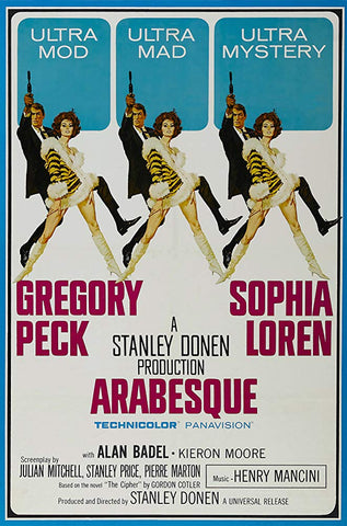 An original movie poster for the film Arabesque