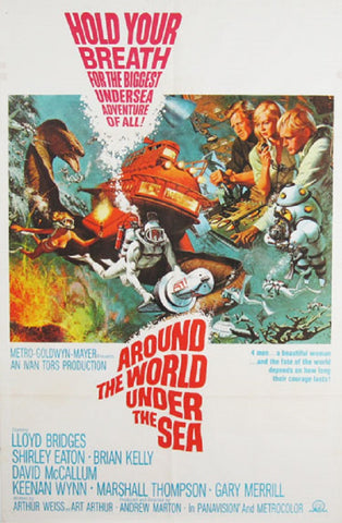A movie poster by Frank McCarthy for the film Around The World Under The Sea