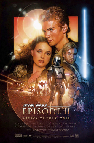 An original movie poster for the Star Wars film Attack of the Clones