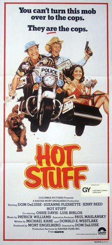 An original movie poster for the film Hot Stuff with a New Zealand ratings snipe