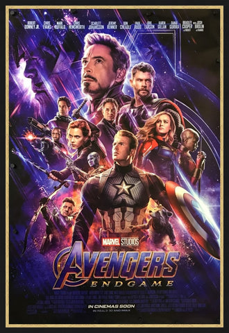 An original movie poster for the Marvel film Avengers Endgame