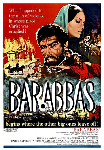 A movie poster by Frank McCarthy for the film Barabbas
