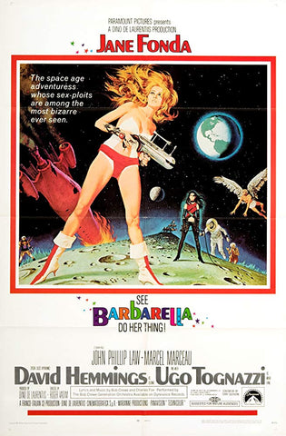 An original movie poster for the film Barbarella