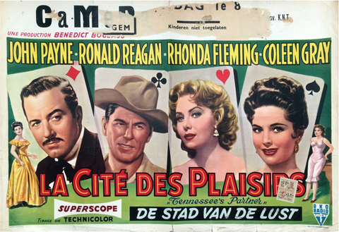 An original Belgian movie poster for the film Tennessee's Partner, with an added snipe