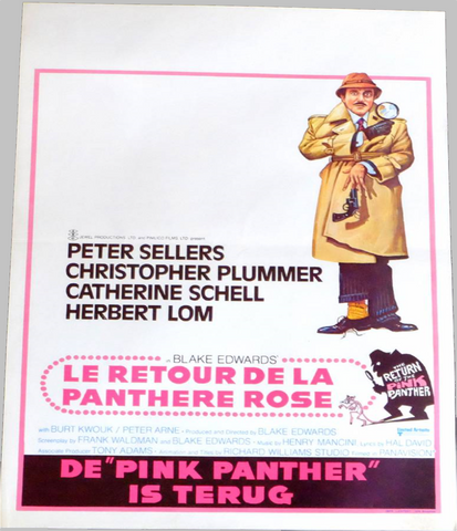 An original Belgian movie poster for the film Return of the Pink Panther