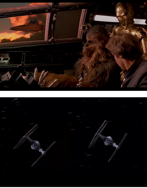 Tie Fighters and Bespin Cloud Cars from the original Star Wars trilogy