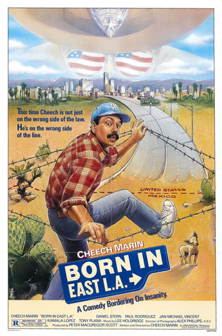 An original movie poster for the film Born in East L.A.