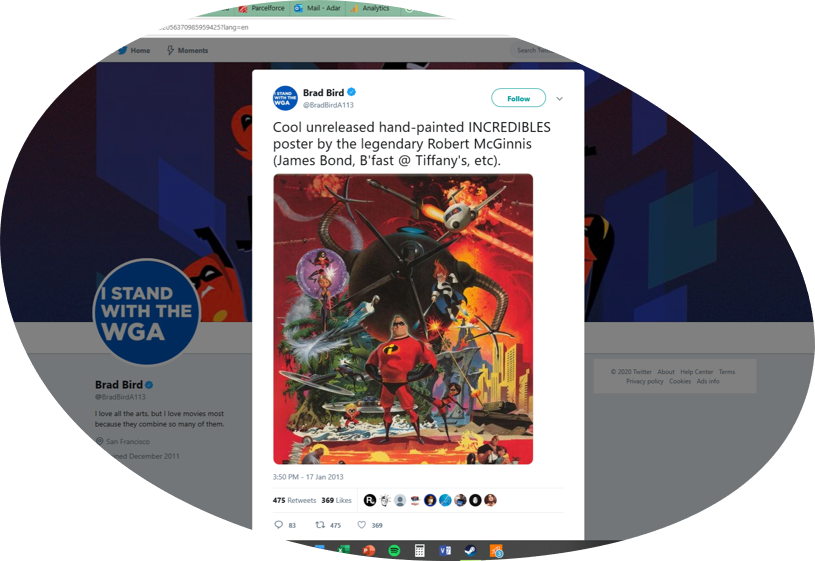 Brad Bird's tweet announcing the existence of a Robert McGinnis poster for The Incredibles