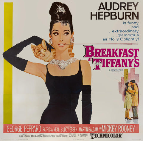A US 6 sheet movie poster for the film Breakfast at Tiffany's by Robert McGinnis