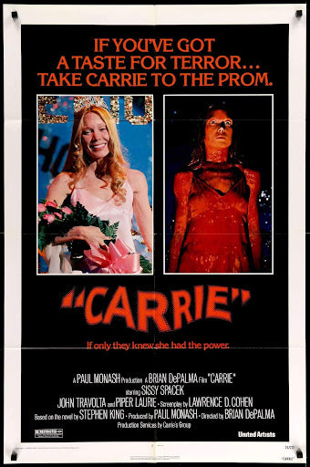 An original movie poster for the film Carrie