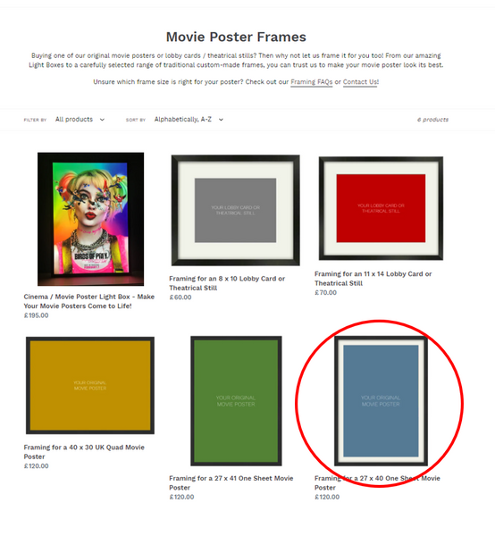 The ART OF THE MOVIES collection of frame sizes