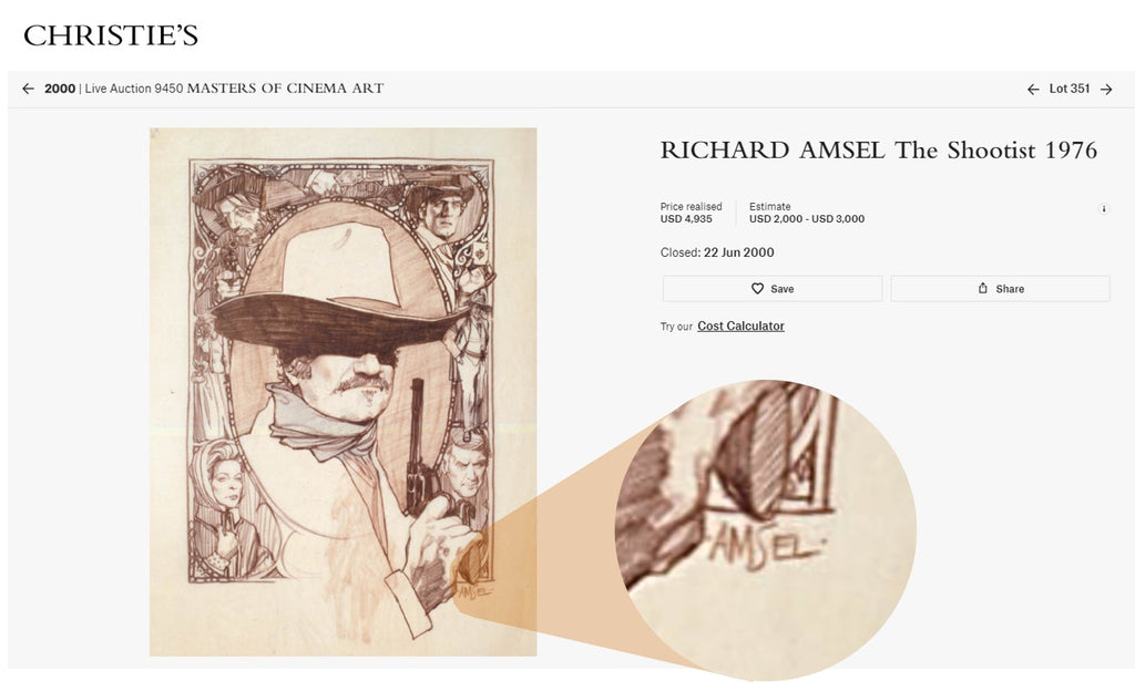 Christie's sale of Richard Amsel's sketch for The Shootist