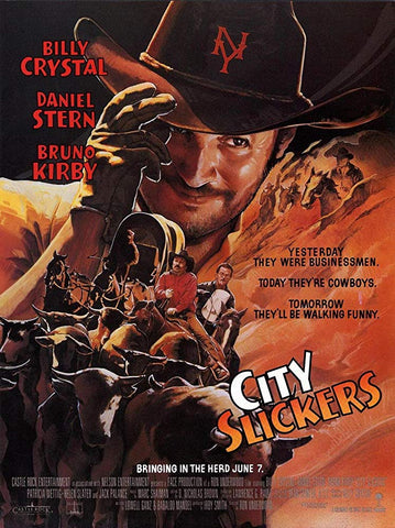 An original movie poster for the film City Slickers by John Alvin