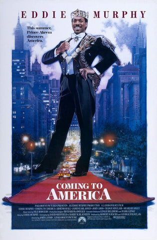 An original movie poster for the film Coming To America