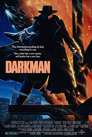 An original movie poster for the film Darkman by John Alvin