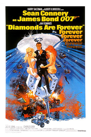 An original movie poster for the film Diamonds Are Forever