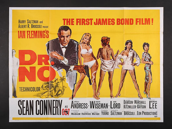 An original UK quad movie poster for the James Bond film Dr No