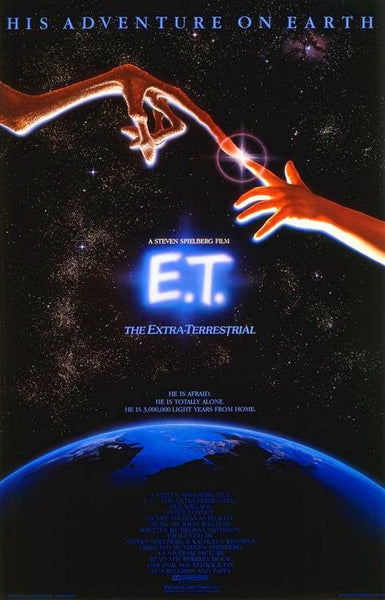 An original movie poster for E.T. by John Alvin