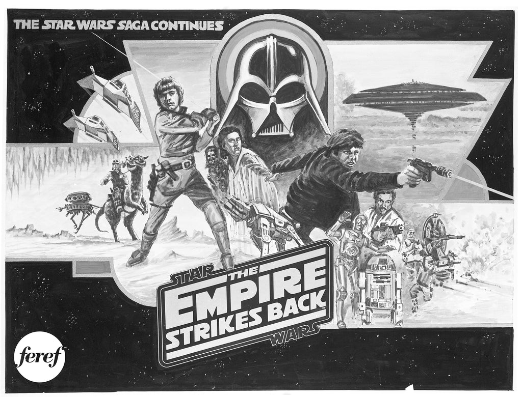 An exclusive never seen before rough draft for a UK quad movie poster for the Star Wars film The Empire Strikes Back