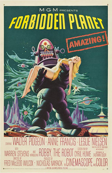 A movie poster for the film Forbidden Planet