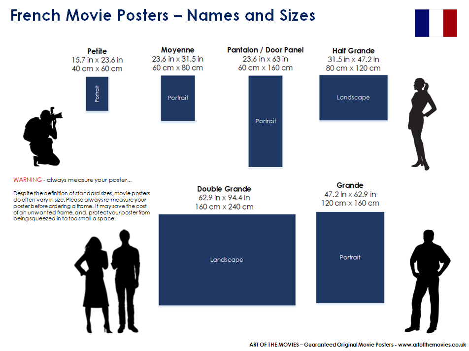 An Infographic showing French Movie Poster Names and Sizes.