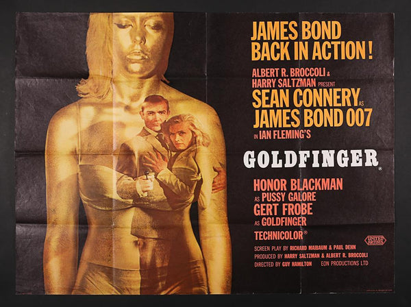 An original UK quad movie poster for the James Bond film Goldfinger