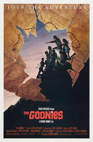 An original movie poster for the film The Goonies by John Alvin