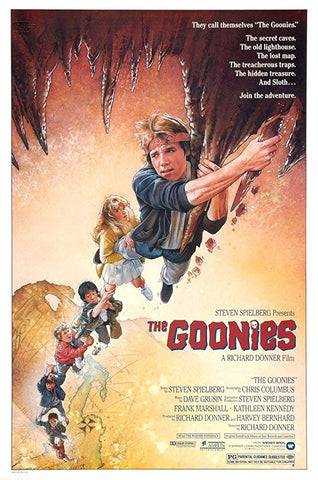 An original movie poster by Drew Struzan for the film The Goonies