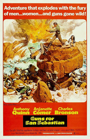 A movie poster by Frank McCarthy for the film Guns of San Sebastian