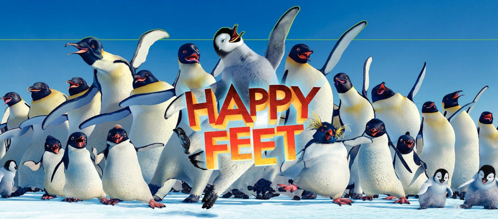 An original movie poster for the film Happy Feet