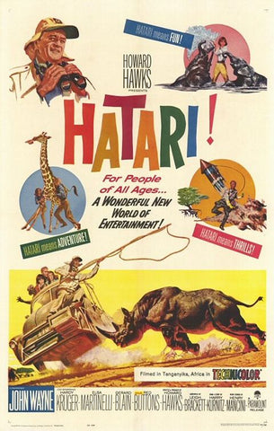 A movie poster by Frank McCarthy for the film Hatari