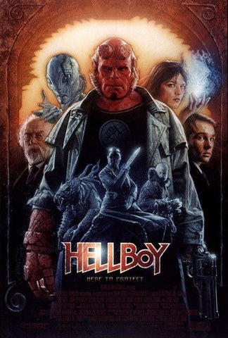 An original movie poster for the film Hellboy
