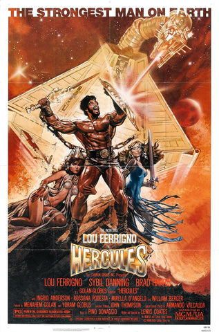 An original movie poster for the film Hercules