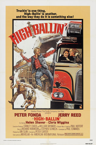 An original movie poster for the film High-Ballin'