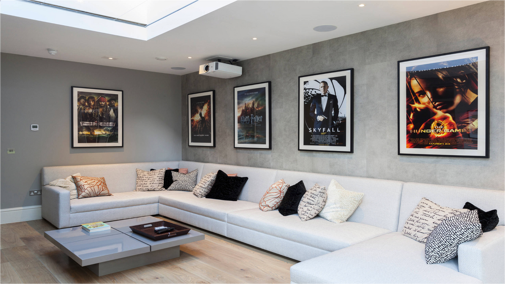 Framed movie posters in a stylish room
