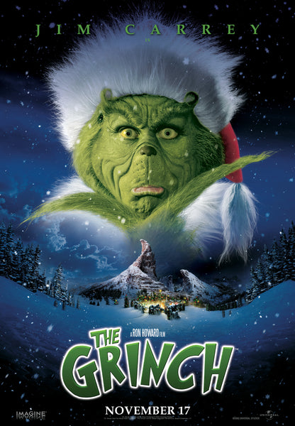An original movie poster for the film How The Grinch Stole Christmas