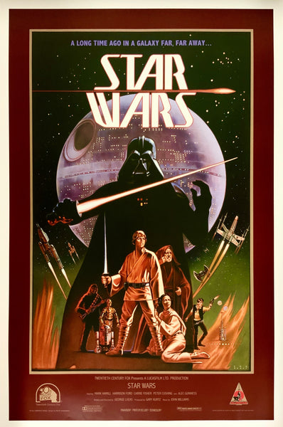An original concept movie poster for Star Wars by Ralph McQuarrie and Lawrence Noble
