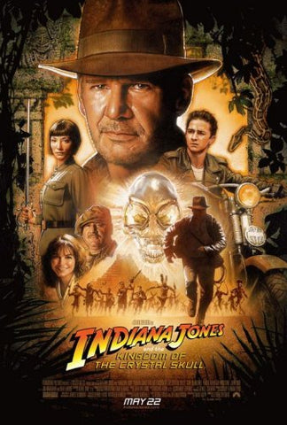 An original movie poster for Indiana Jones and the Kingdom of the Crystal Skull