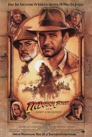 An original movie poster by Drew Struzan for the film Indiana Jones and the Last Crusade