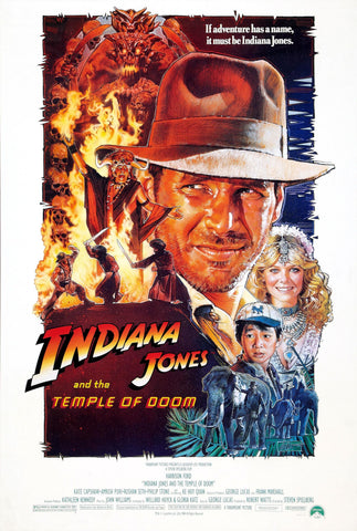 An original movie poster for the film Indiana Jones and the Temple of Doom