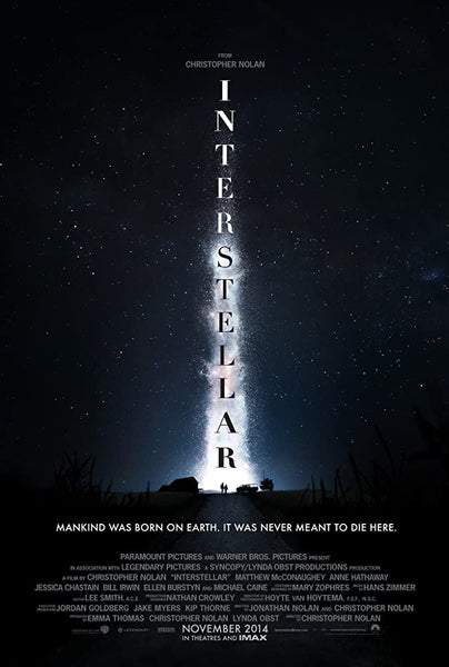 An original movie poster for the Christopher Nolan sci-fi epic Interstellar
