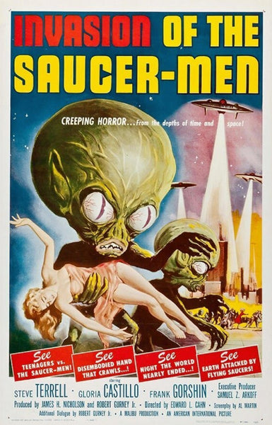 An original movie poster for the film Invasion of the Saucer-Men