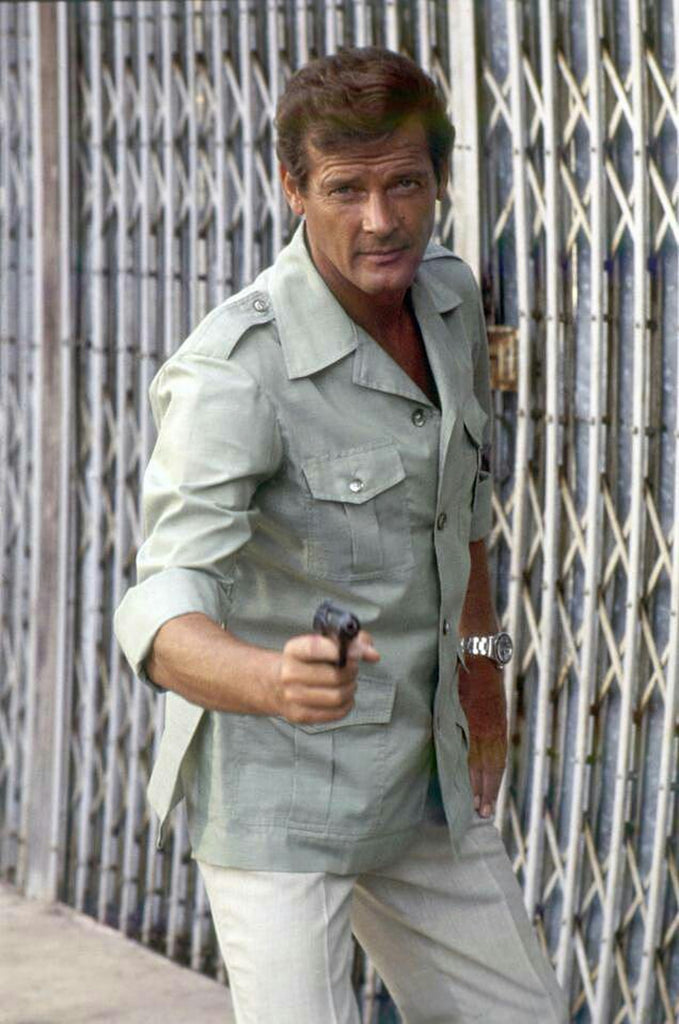Roger Moore as James Bond complete with Safari Jacket
